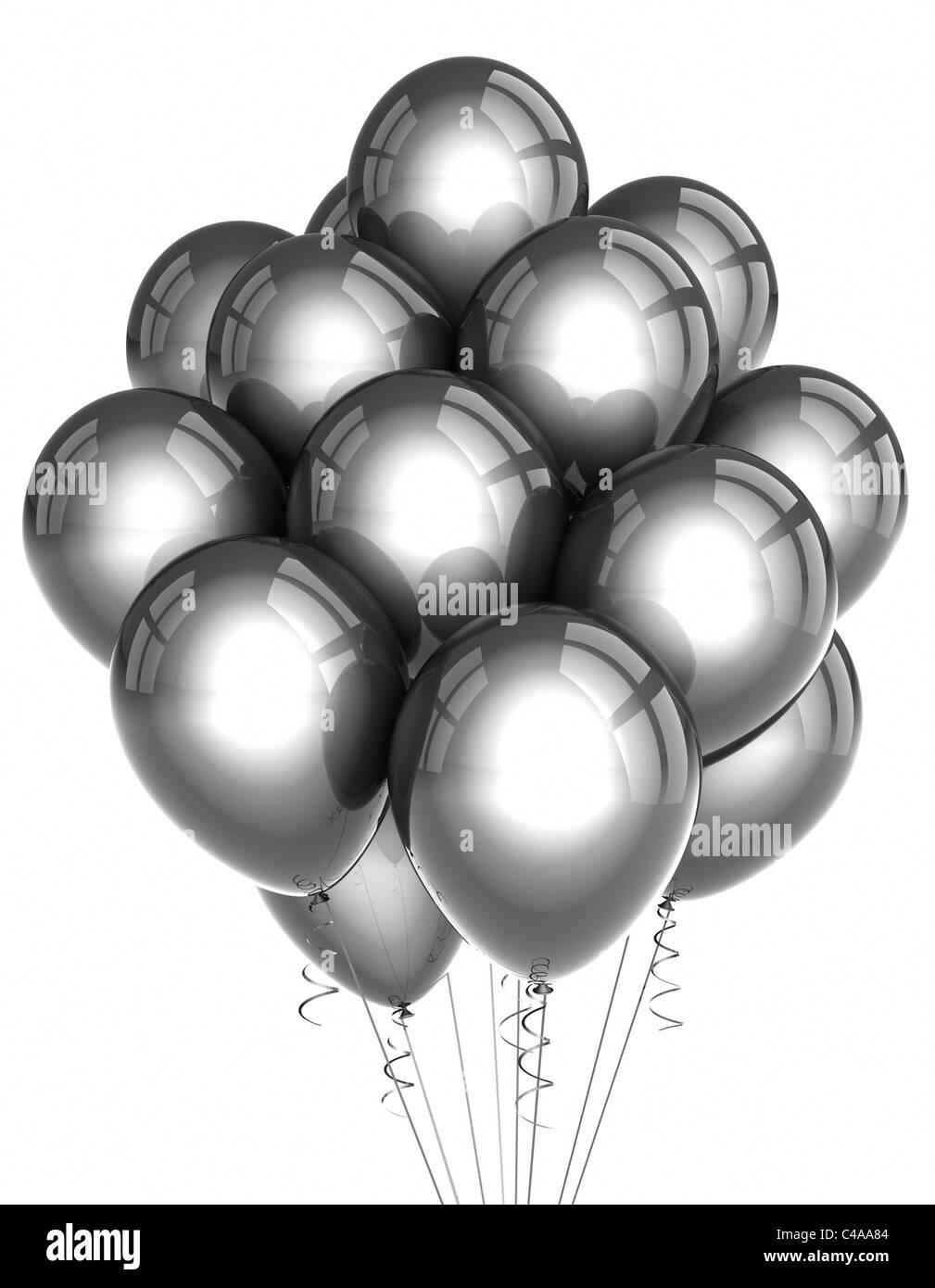 Parte de plata globos sobre fondo blanco. Foto de stock