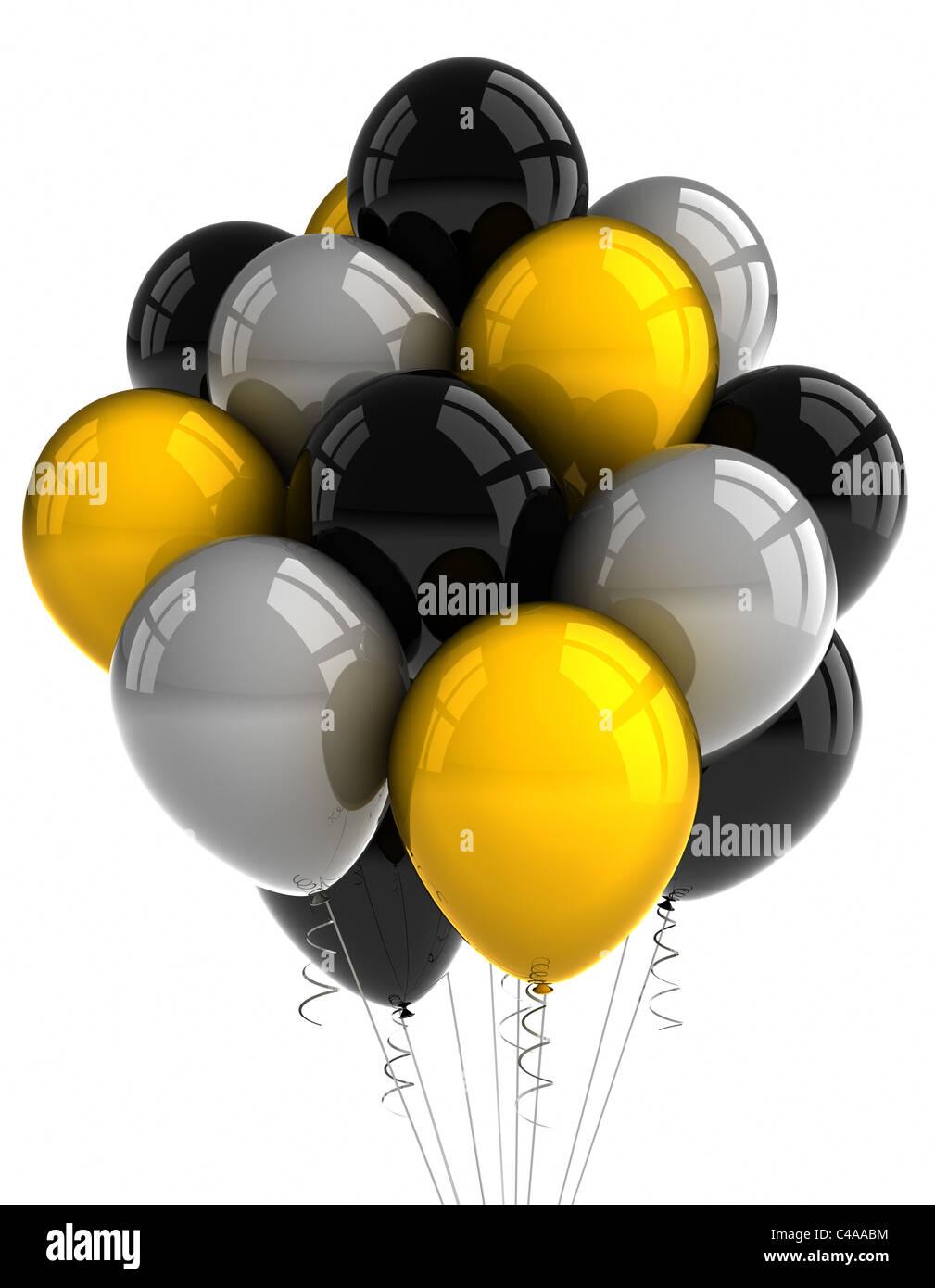 Parte globos sobre fondo blanco. Foto de stock