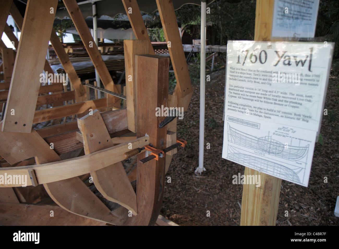 San Agustín de la Florida San Agustín Faro y construcción de barcos & Museum Exposición 1760 yawl Foto de stock