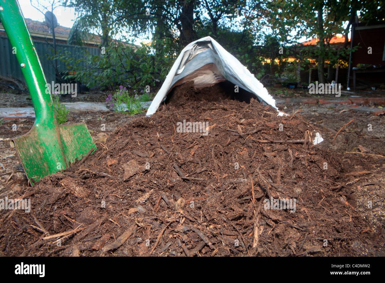 Abono Orgánico fabricado a partir de madera y corteza rallada vierte desde una bolsa hacia el jardín Imagen De Stock