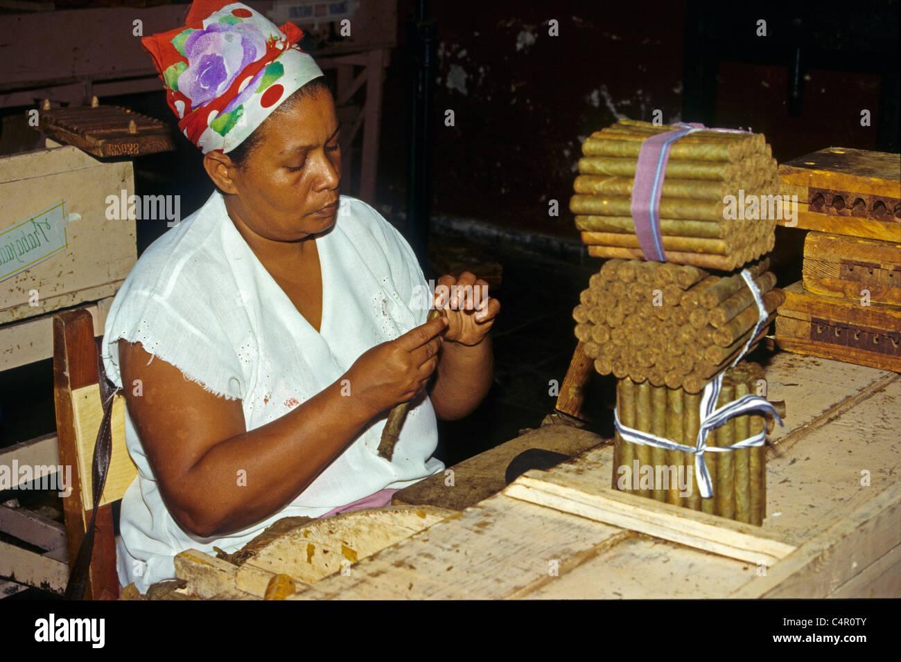 Mujer cubana rolling cigarros en la fabricación de tabaco, Pinar del Río, Cuba, El Caribe Imagen De Stock