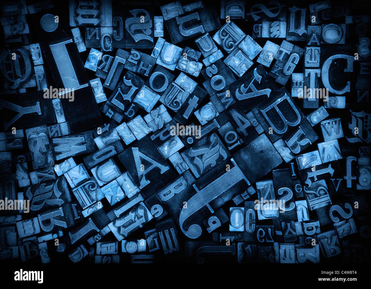 Cierre de diversos bloques de impresión Imagen De Stock
