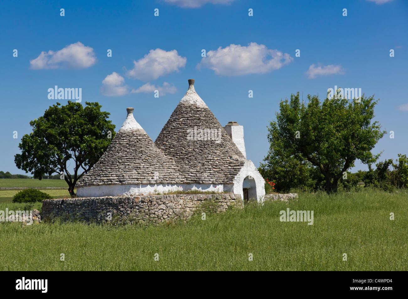 Puglia - tradicional trulli (singular, trullo) drystone edificios de techo cónico en la granja haciendas cerca Imagen De Stock
