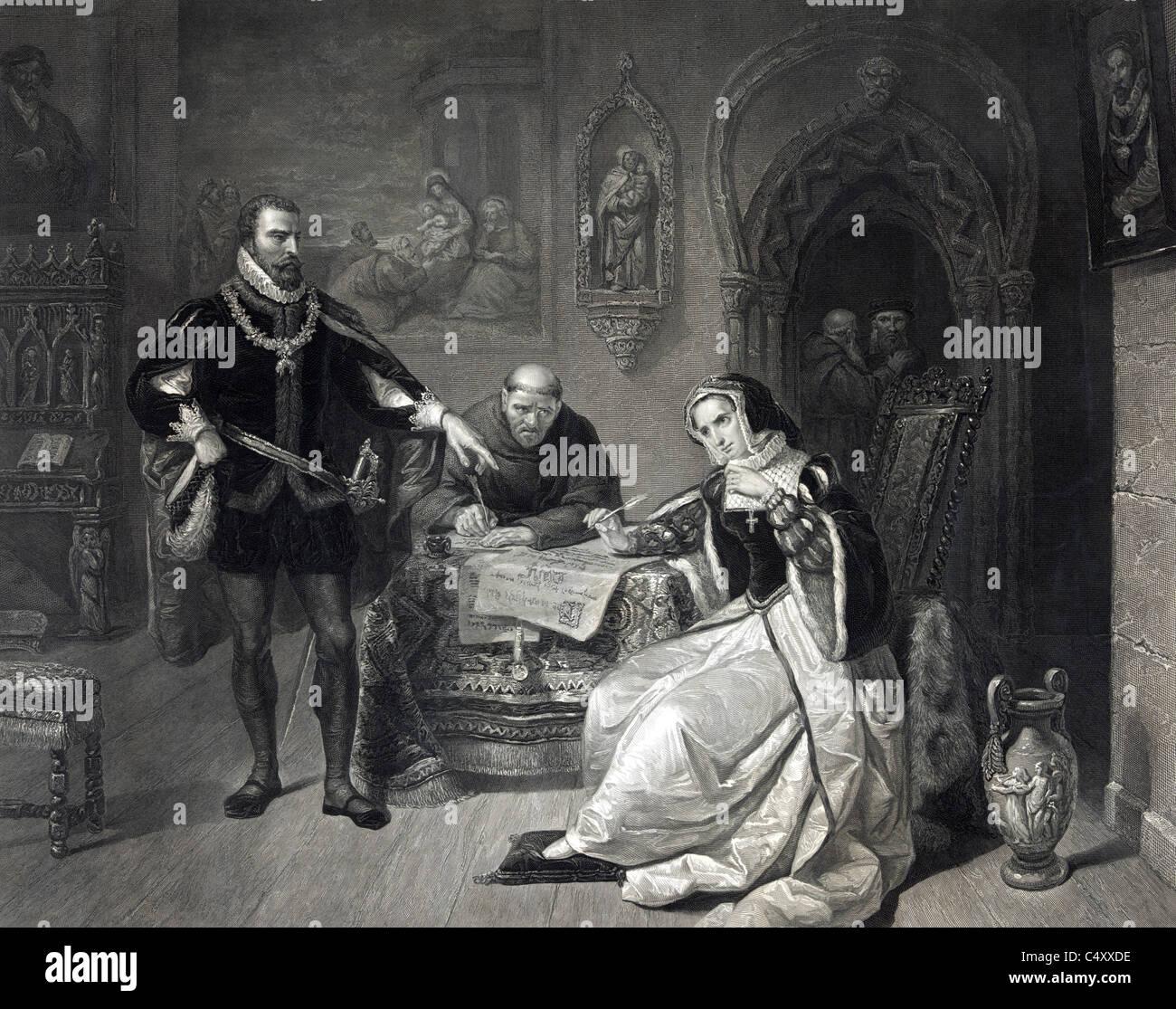 La firma de la sentencia de muerte de Lady Jane Grey Imagen De Stock