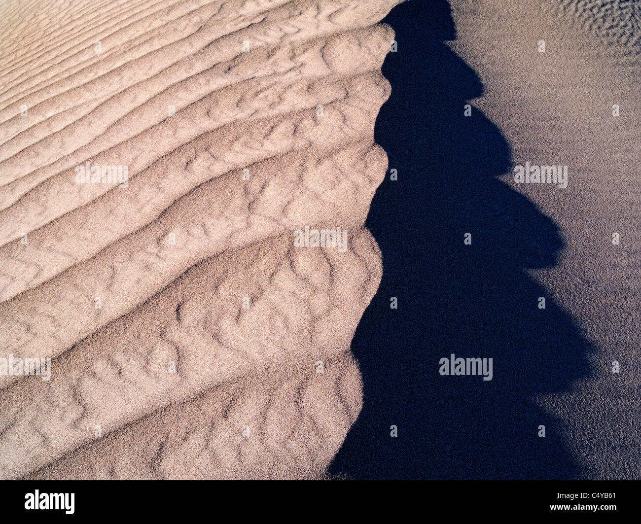Patrones en la arena tras las intensas tormentas de viento. El Parque Nacional Valle de la Muerte, California Imagen De Stock
