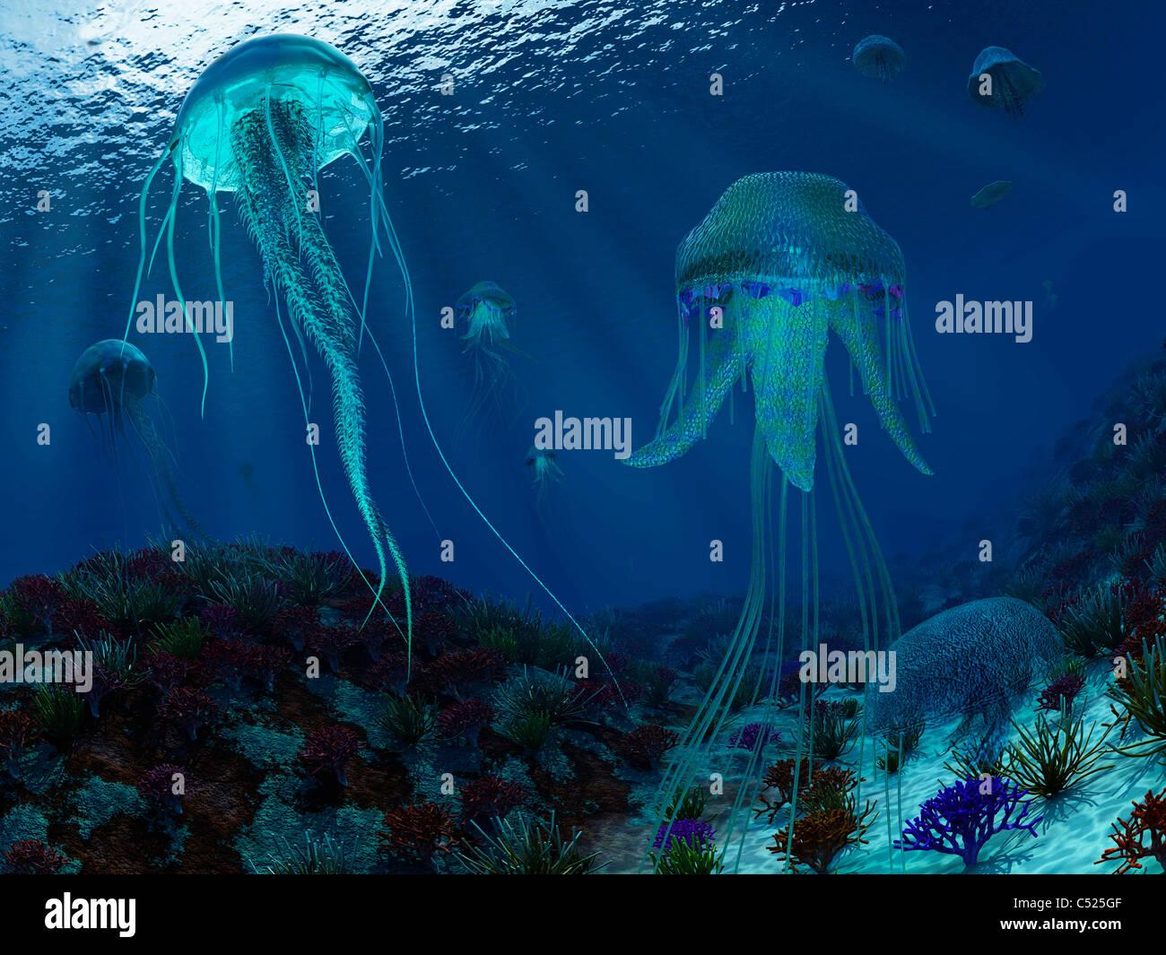 Un enjambre de medusas Panthalassic nadar en el océano. Foto de stock