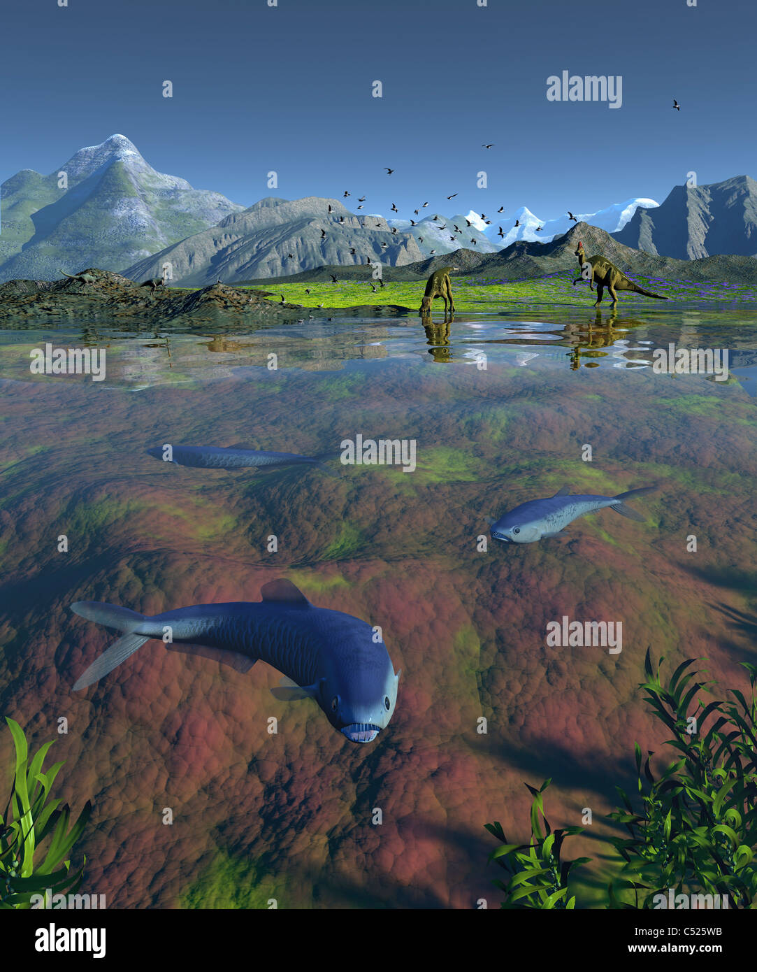 Los peces depredadores Enchodus Fanged desde finales del período Cretácico. Imagen De Stock