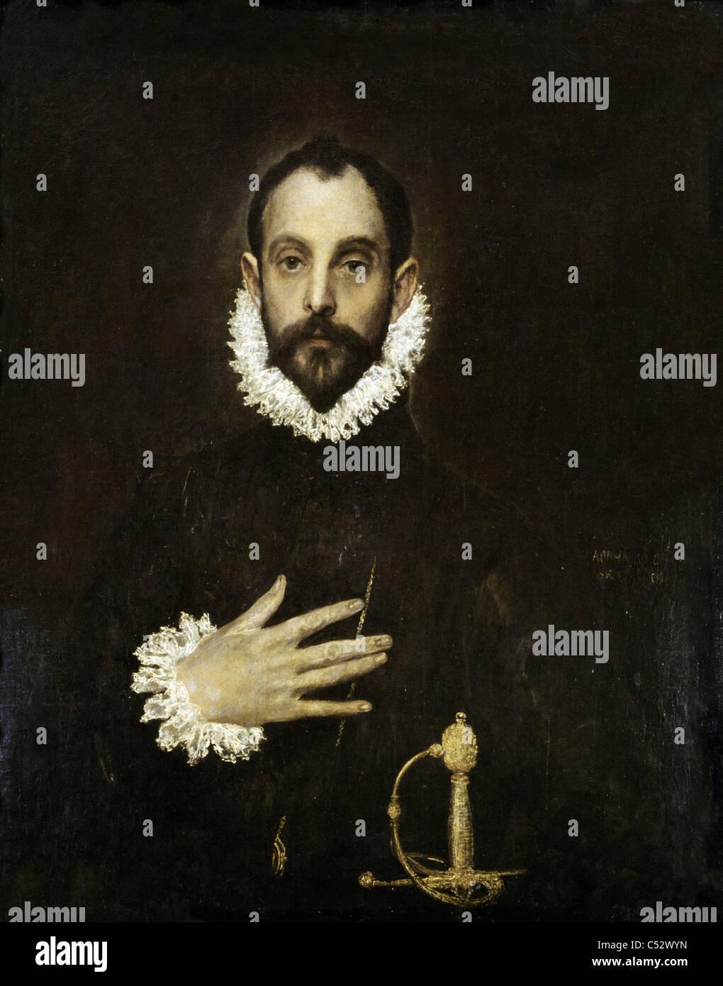 Domenicos Greco - El Greco El caballero con la mano en el pecho de 1577, Museo del Prado - Madrid Imagen De Stock