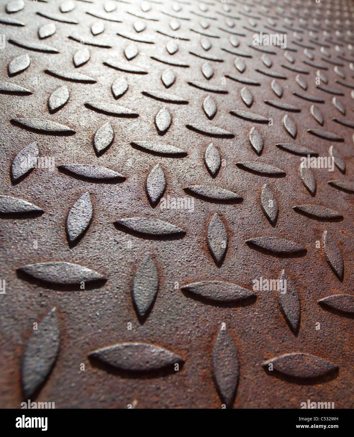 La superficie de una placa de metal oxidado Foto de stock