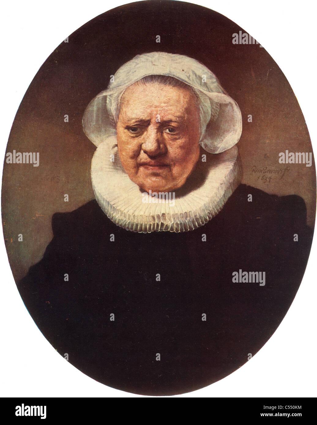 La pintura de Rembrandt Harmenszoon van Rijn, tarde en la Escuela Flamenca; 1634; retrato de una vieja dama de negro Imagen De Stock