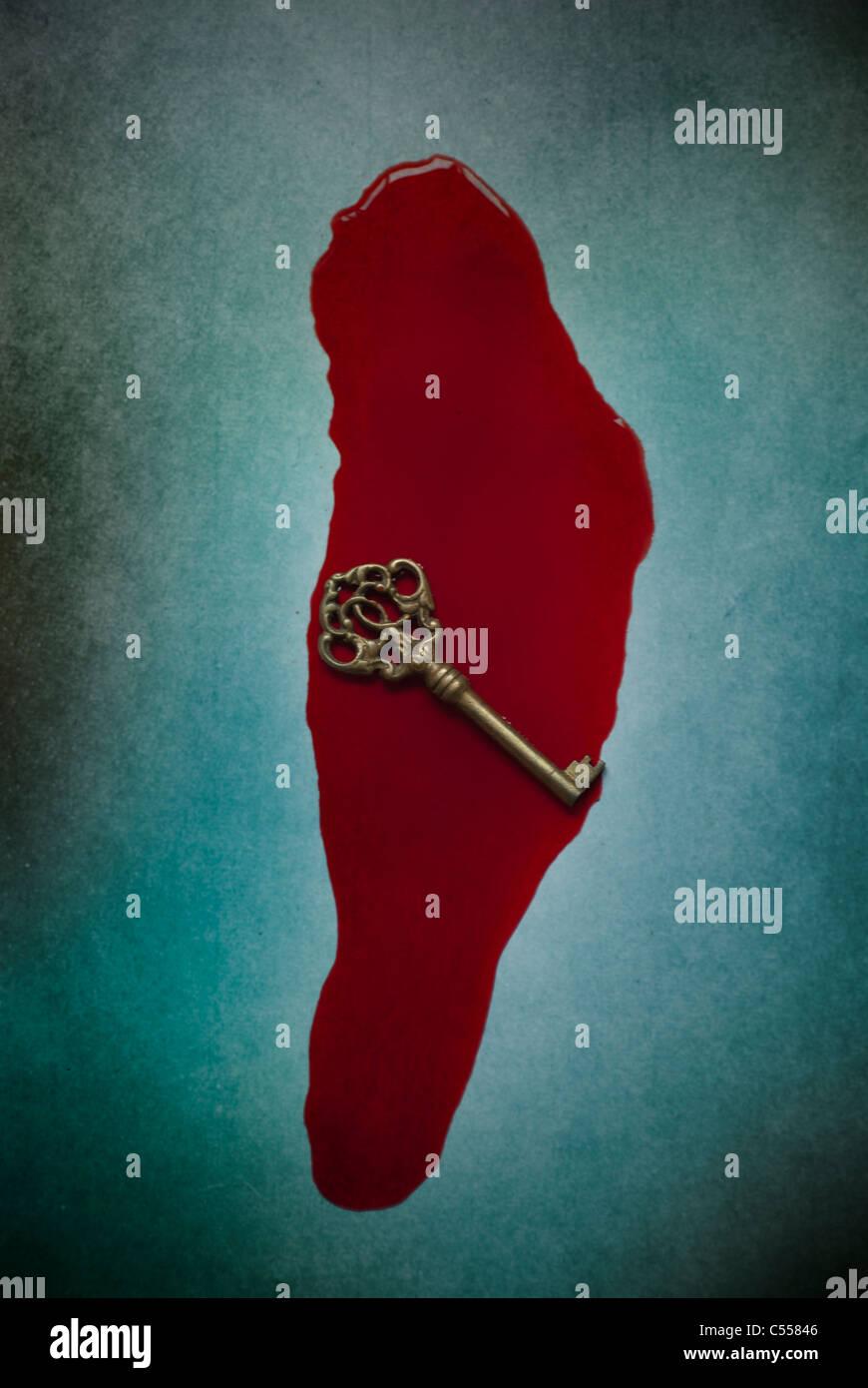 Llave de metal viejo en un charco de sangre Imagen De Stock