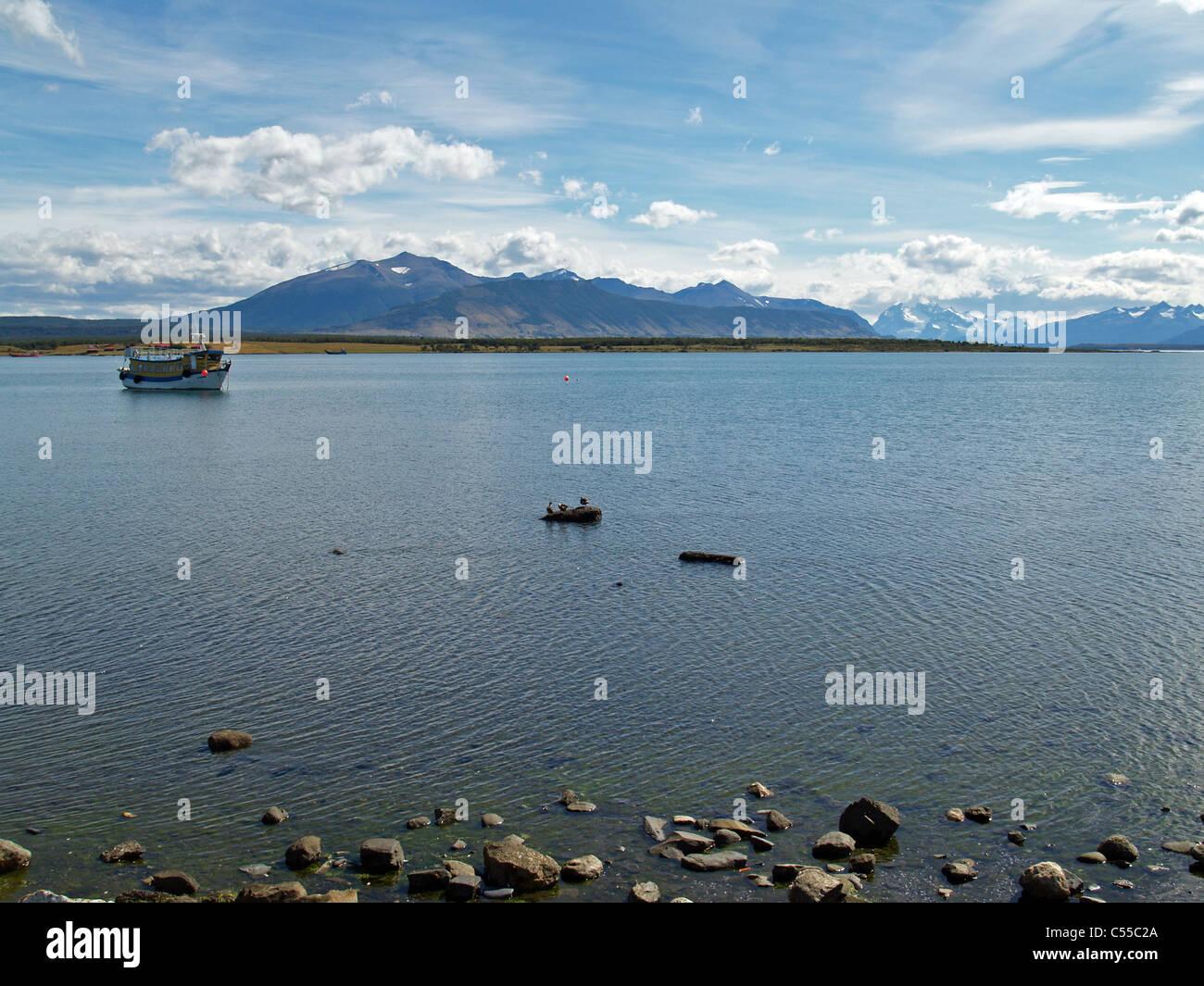 Seno de Ultima Esperanza, barco pesquero ,Puerto Natales,Chile Imagen De Stock