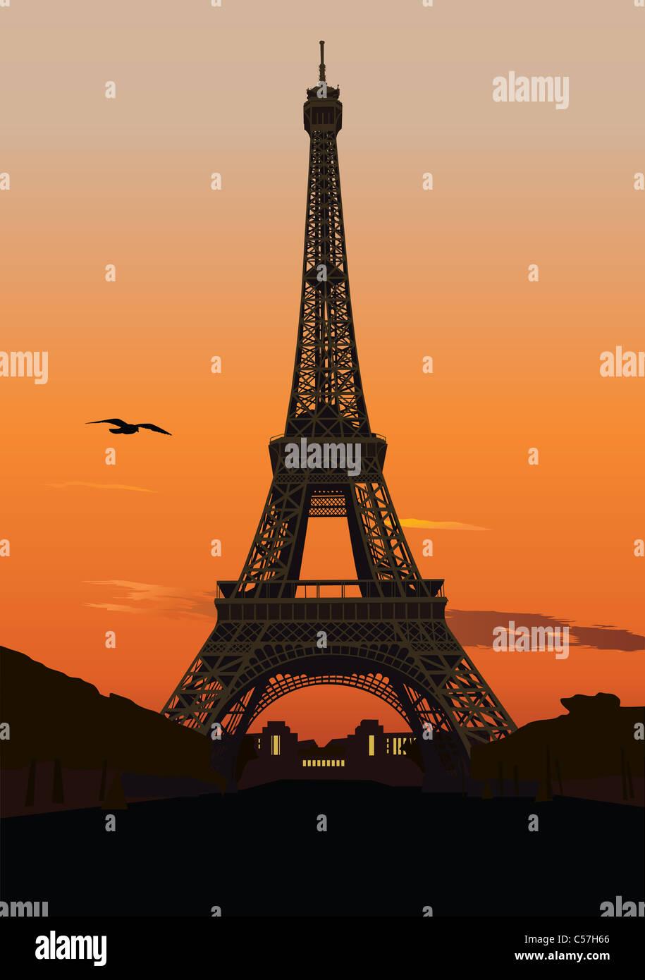 Ilustración vectorial de la torre Eiffel al atardecer. París, Francia Imagen De Stock