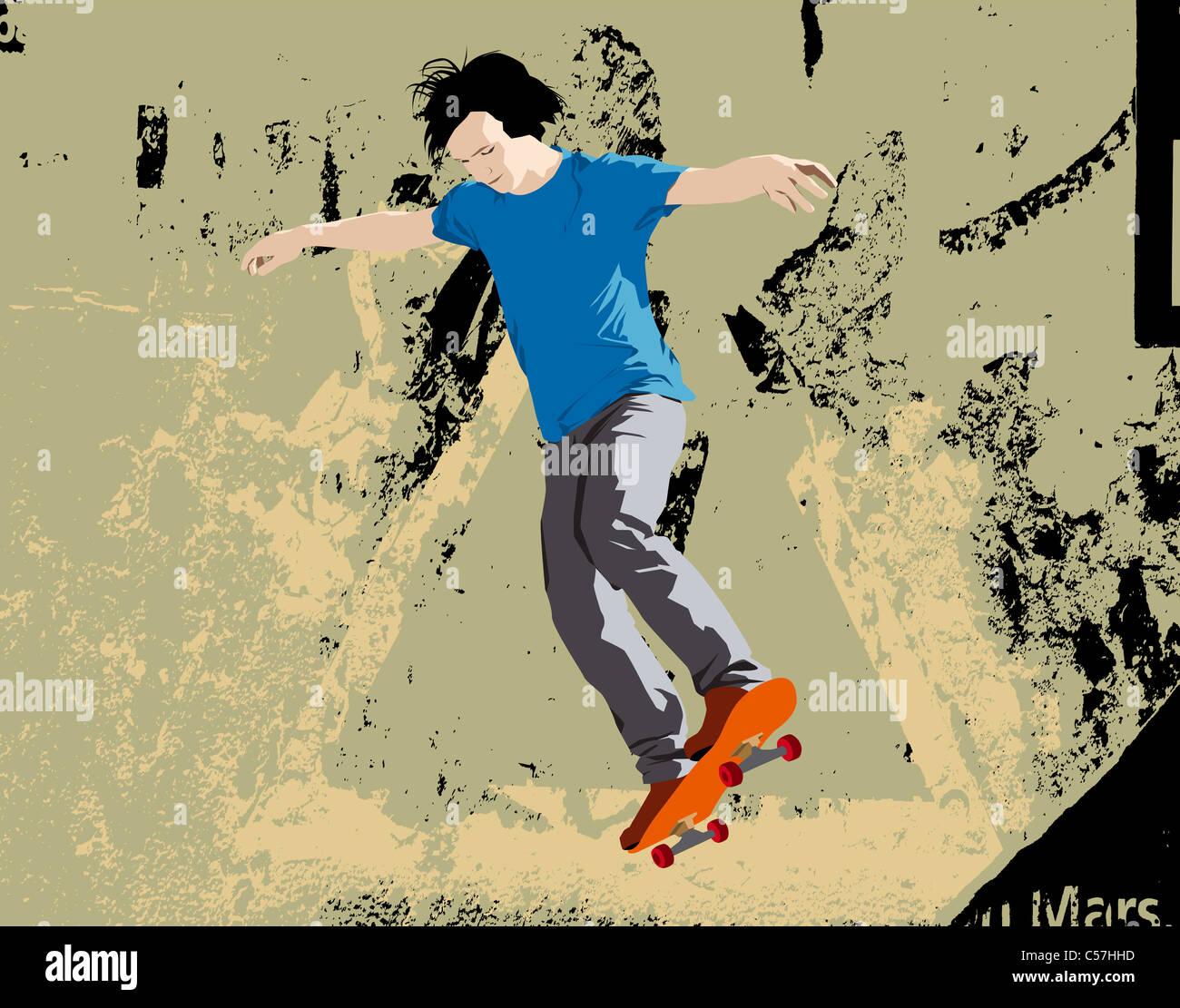 Joven skater saltando. Ilustración vectorial con Grunge antecedentes. Imagen De Stock