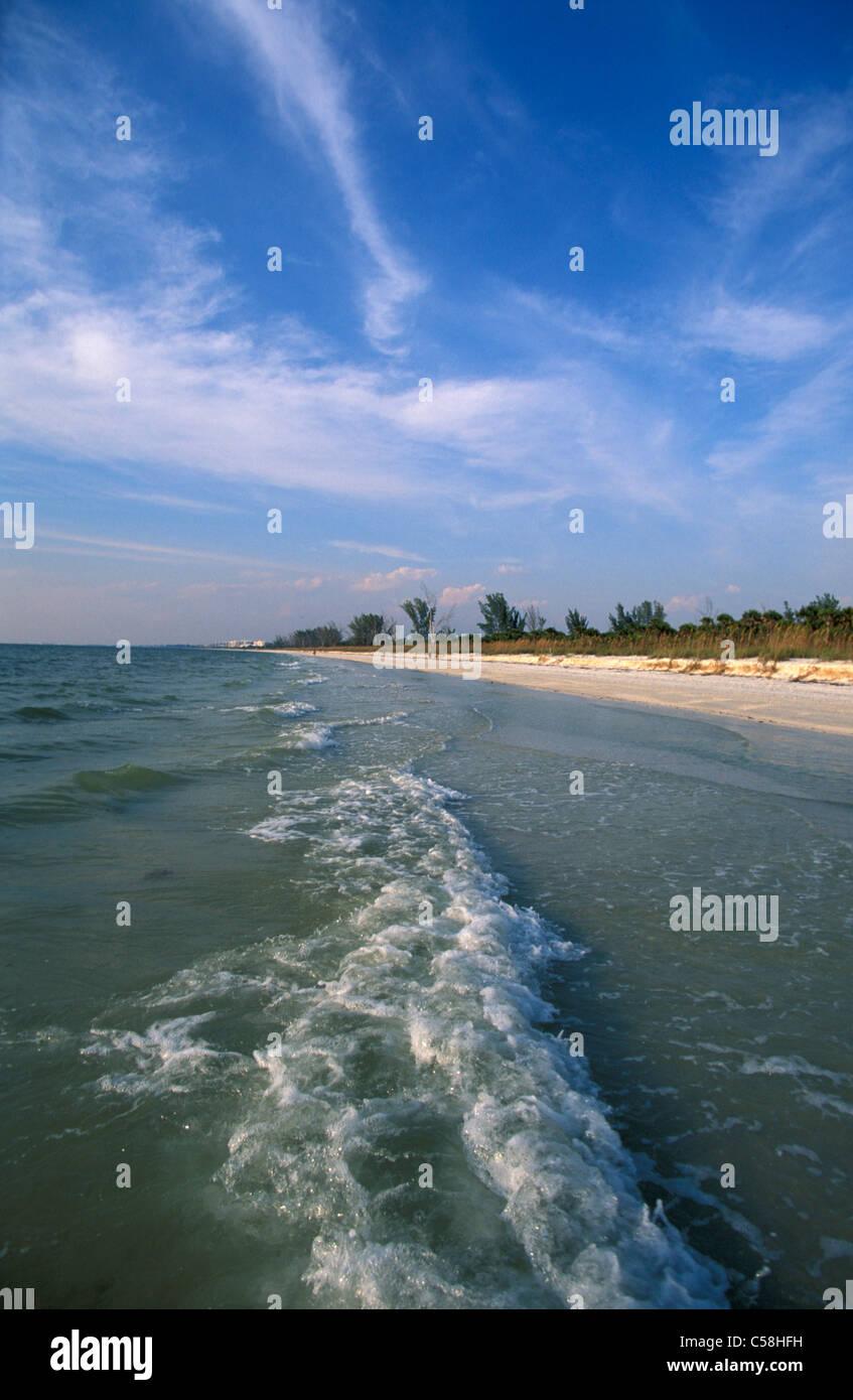 Barefoot Beach, playa, reserva, Bonita Beach, Florida, Estados Unidos, Estados Unidos, América, olas, playa, Imagen De Stock