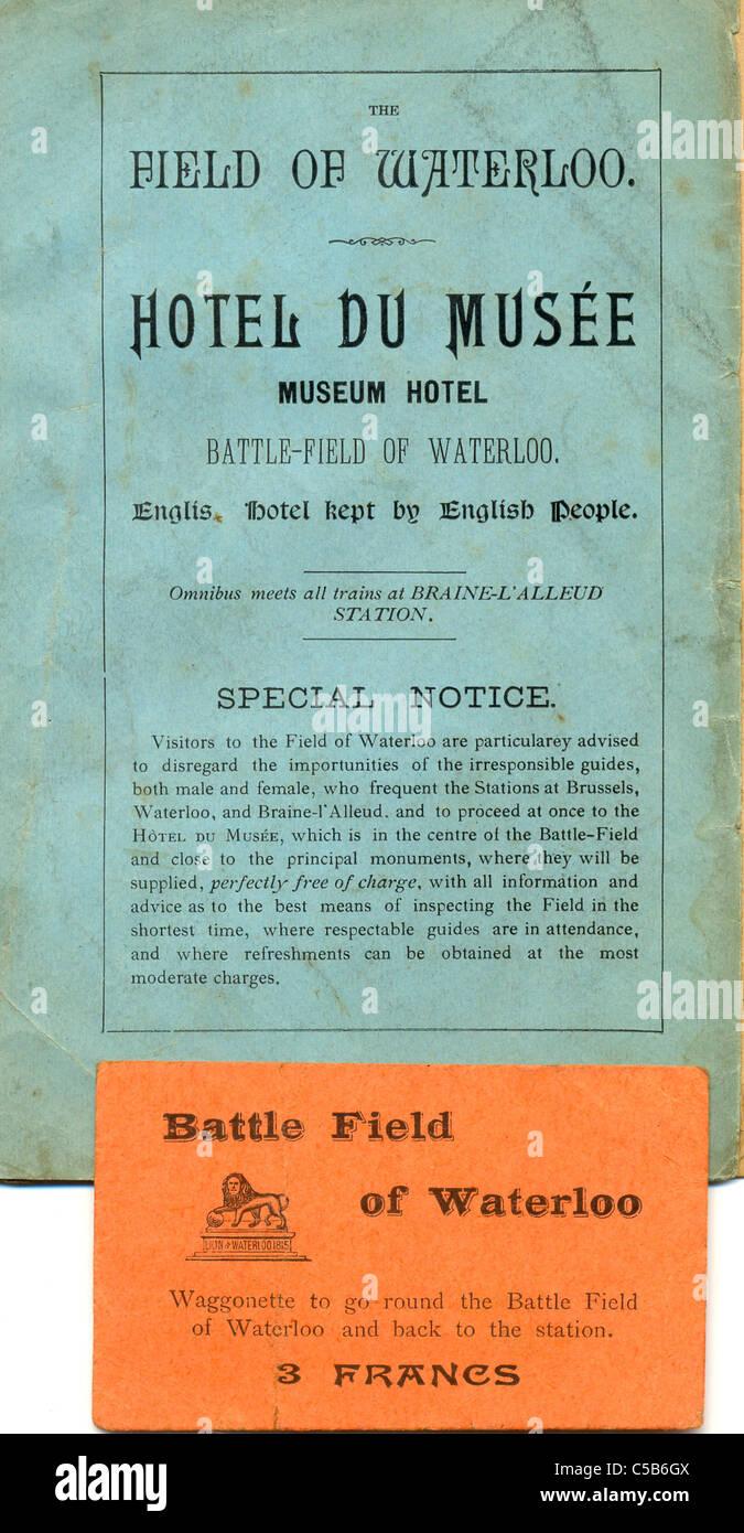 Guía de hoteles y billete para visitar el campo de batalla de Waterloo Imagen De Stock
