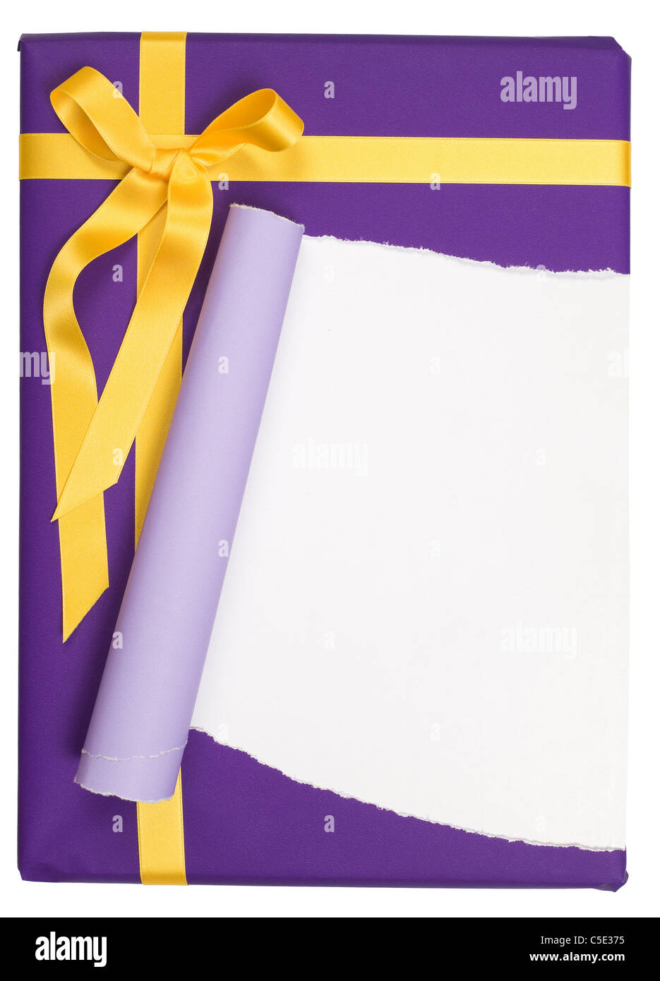 Close-up de un regalo envuelto con papel de regalo púrpura rasgada contra el fondo blanco. Imagen De Stock