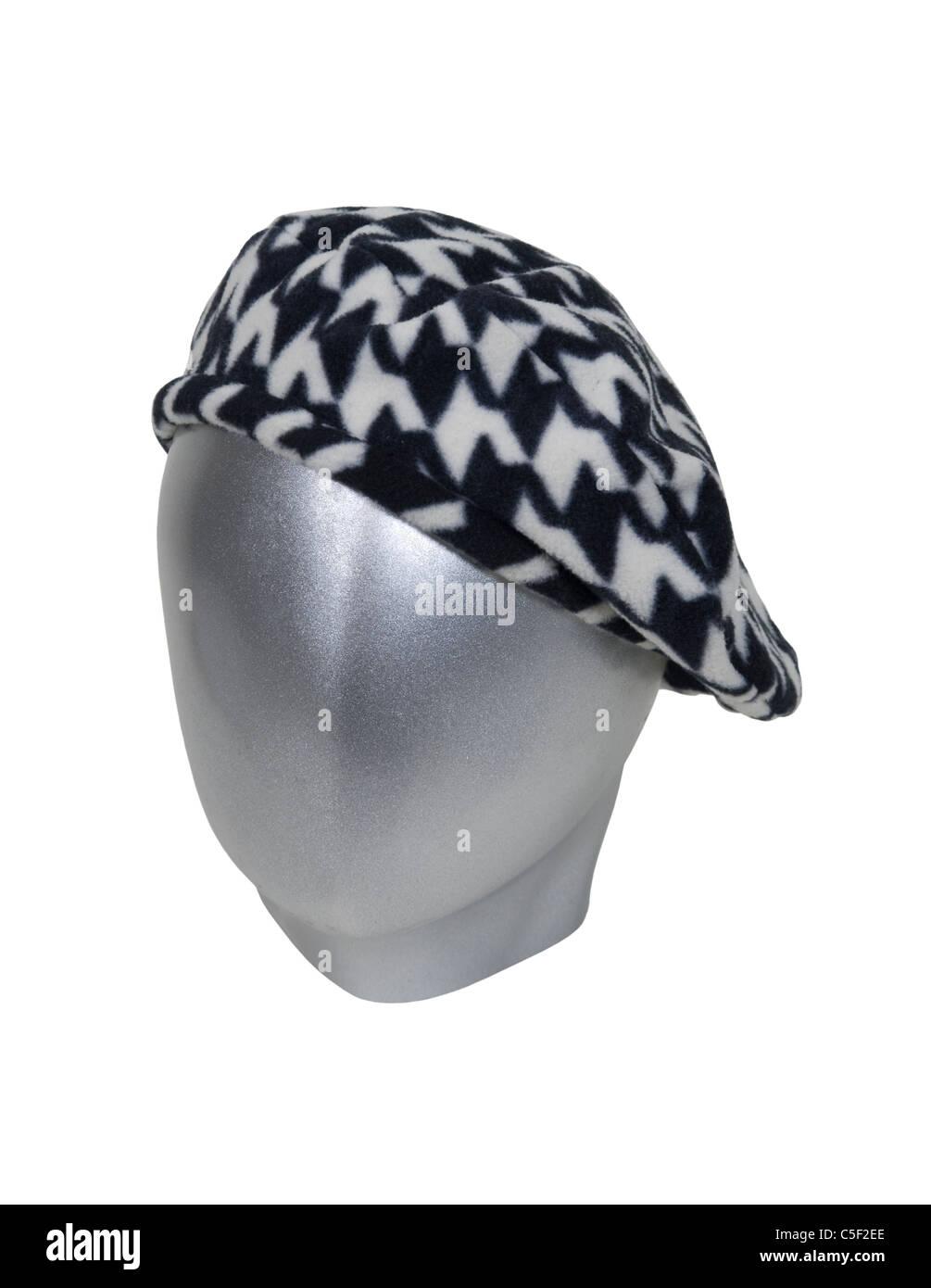 Cabeza de plata para modelar ropa y accesorios con un rostro en blanco  vistiendo una boina ceaf5eade6d