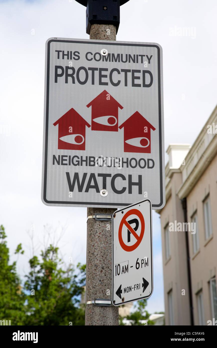 Protegido por la comunidad Neighborhood Watch firmar Toronto Ontario Canada Foto de stock