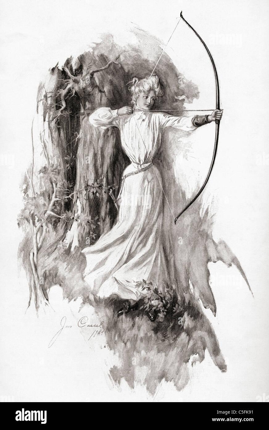 Una dama practicar tiro con arco en 1904. Imagen De Stock