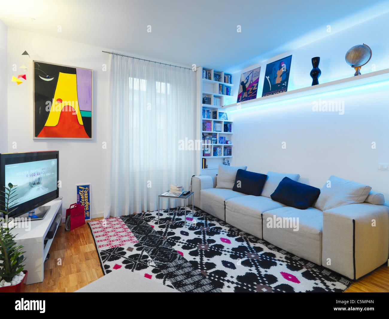Salón moderno con suelo de madera y moqueta Imagen De Stock