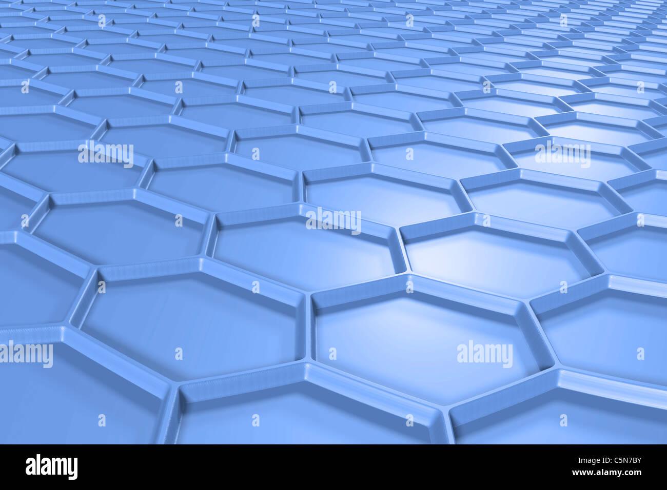 Estructura hexagonal azul. Imagen De Stock