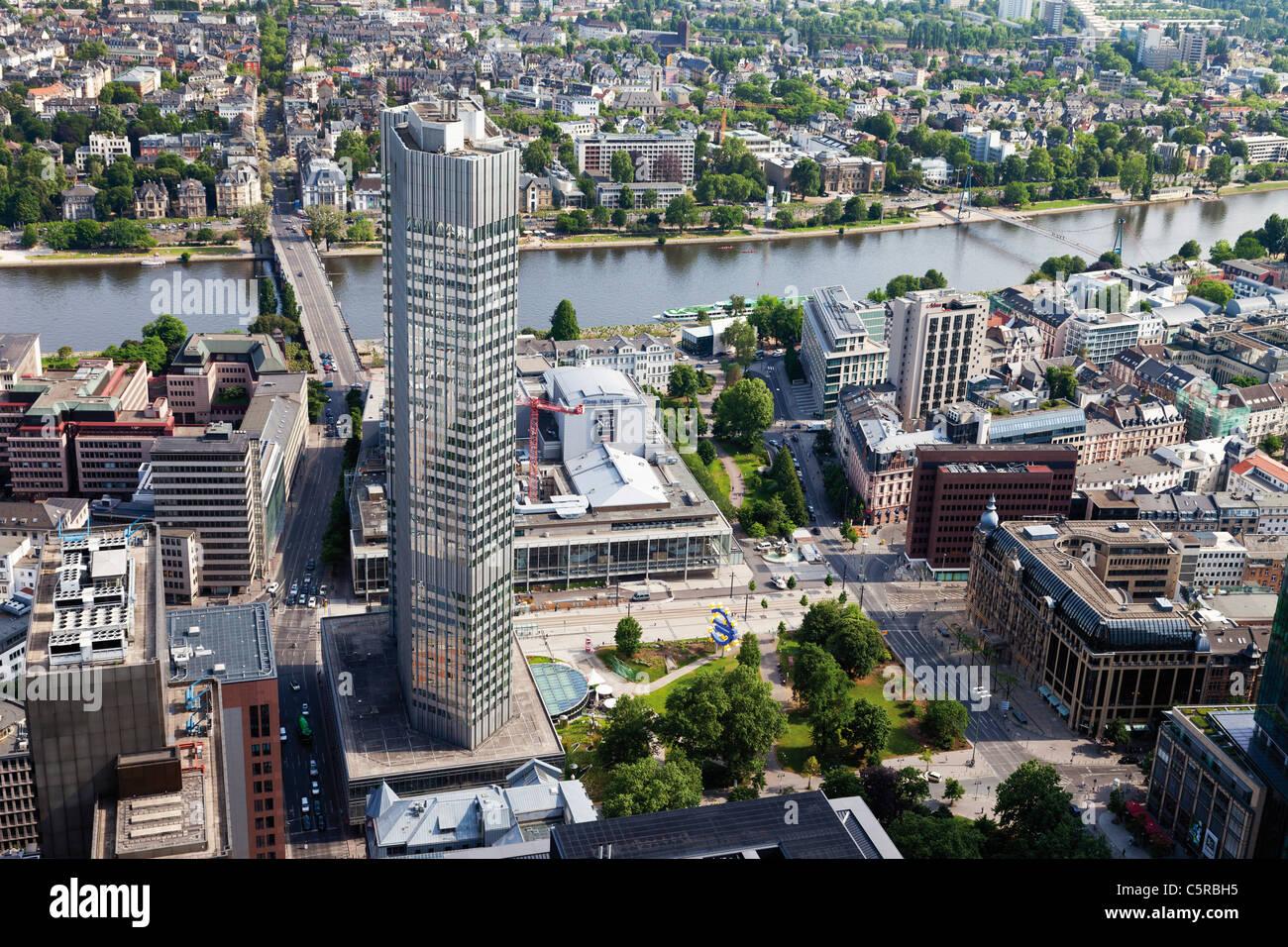 En Europa, Alemania, Hesse, Frankfurt, vista del Banco Central Europeo. Imagen De Stock