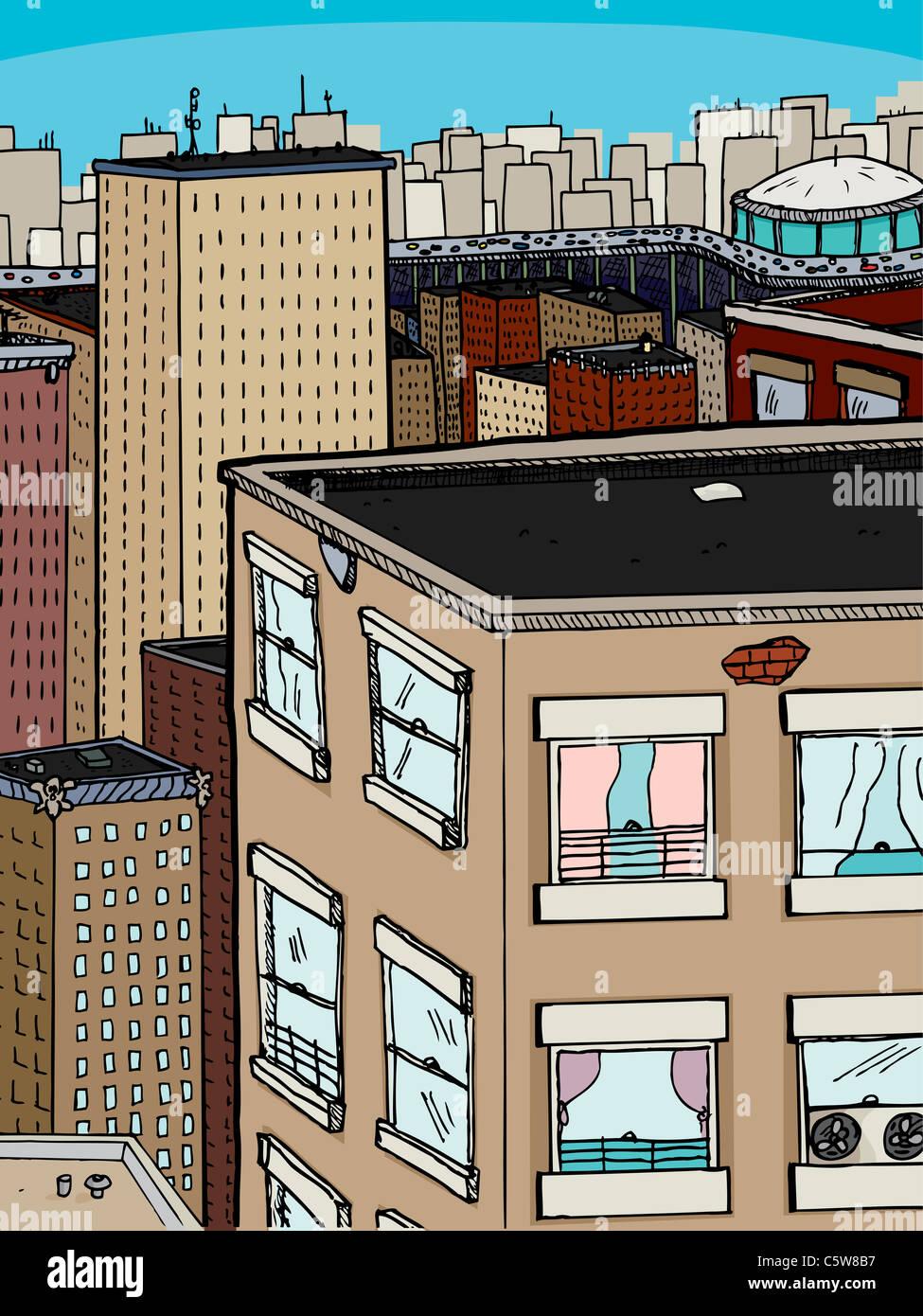Escenario urbano denso con viejos apartamentos, oficinas y un estadio con ocupado expressway Imagen De Stock