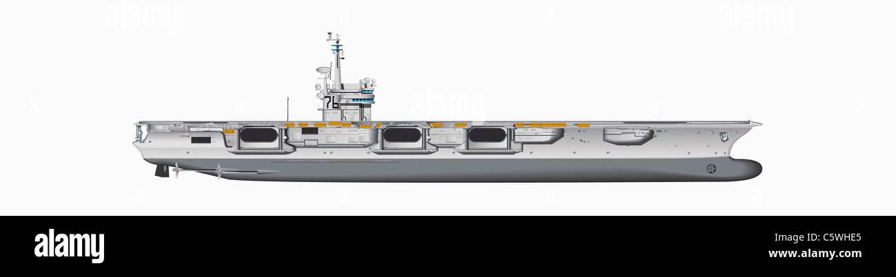 Ilustración de portaaviones contra fondo blanco, cerrar Imagen De Stock