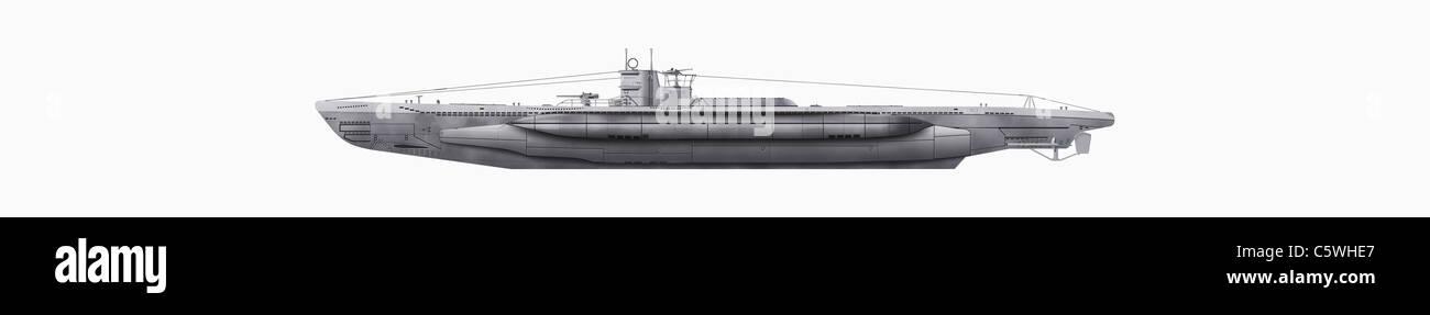 Ilustración de un submarino contra fondo blanco, cerrar Imagen De Stock