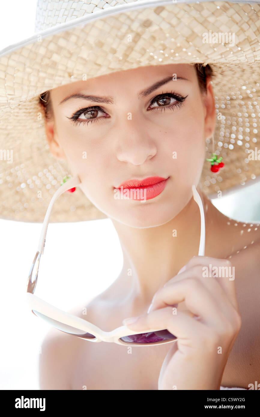 Retro verano mujer Imagen De Stock