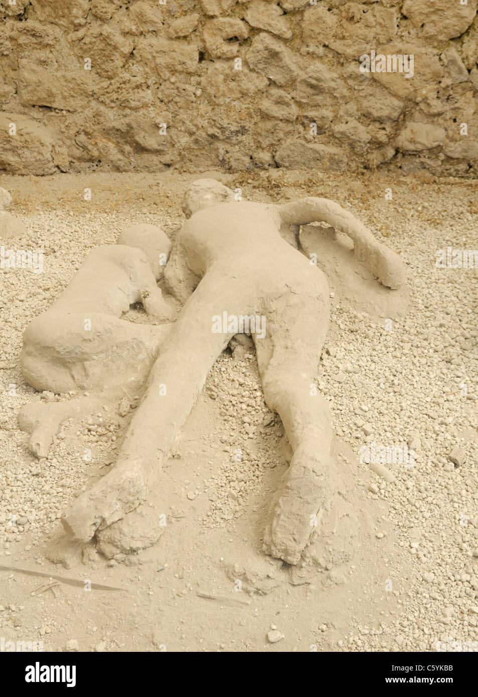 Las víctimas de Pompeya, yeso, Jardín de los fugitivos Imagen De Stock
