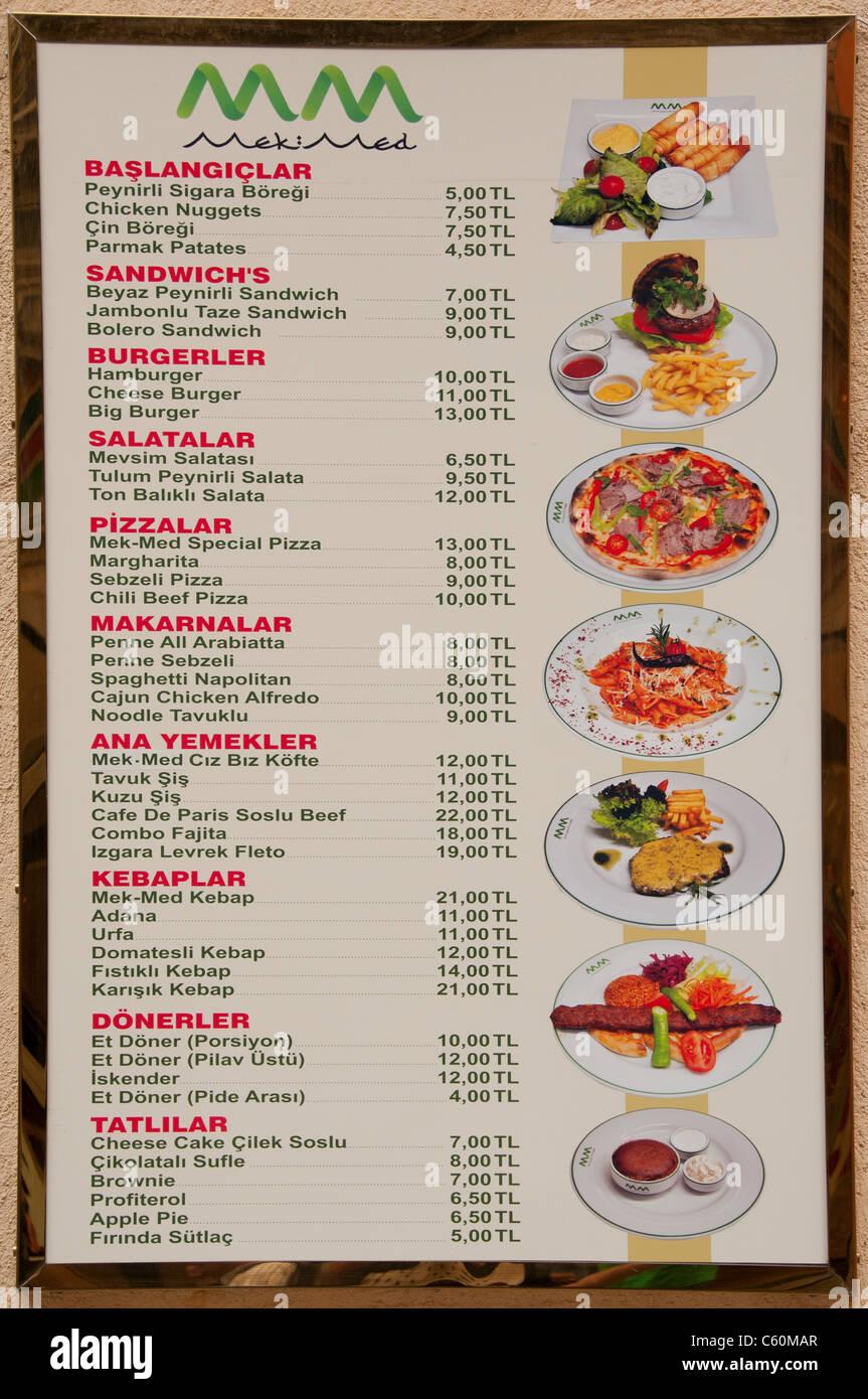 Comida de menú restaurante Diner signo turco Turquía Imagen De Stock