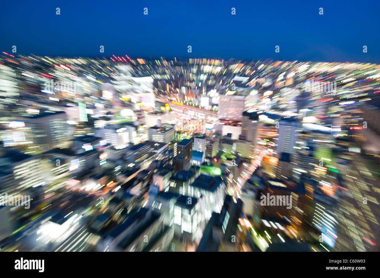 Vista borrosa hacia un objeto en una ciudad Imagen De Stock
