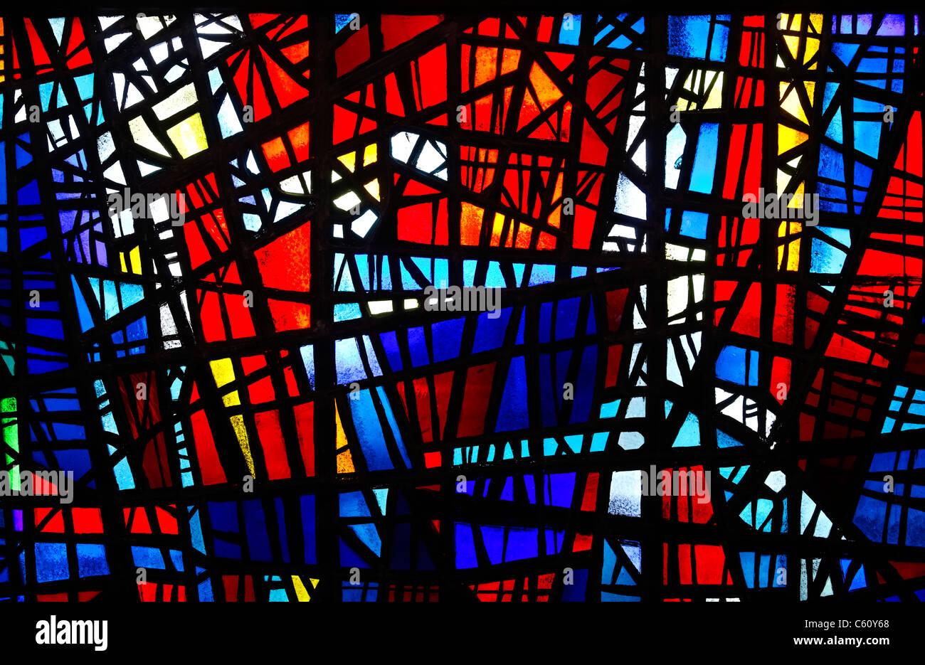 Vidriera de la Catedral de Skalholt, Golden Circle, Islandia Foto de stock
