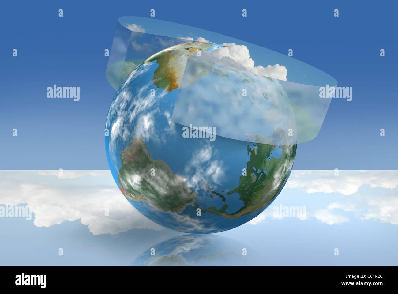 Tecnología de control climático ilustrado con un gráfico de tarta atmosférica Imagen De Stock