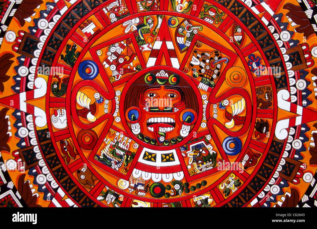 Calendario Solar Maya.Cierre De Un Colorido Calendario Solar Maya Principalmente