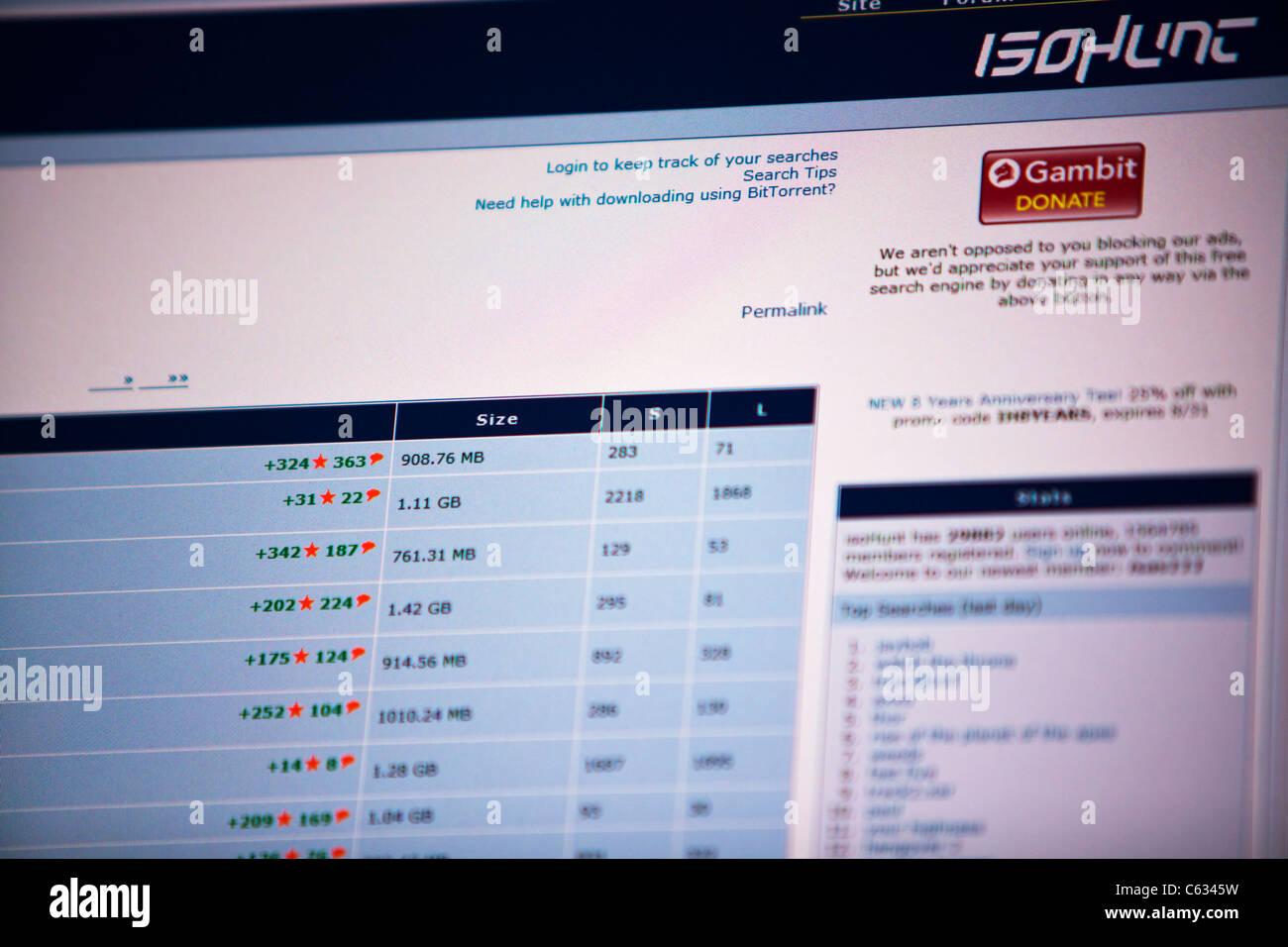 El logotipo del sitio de descargas ilegales bit torrent iso hunt imagen de alta resolución tomada desde una Imagen De Stock