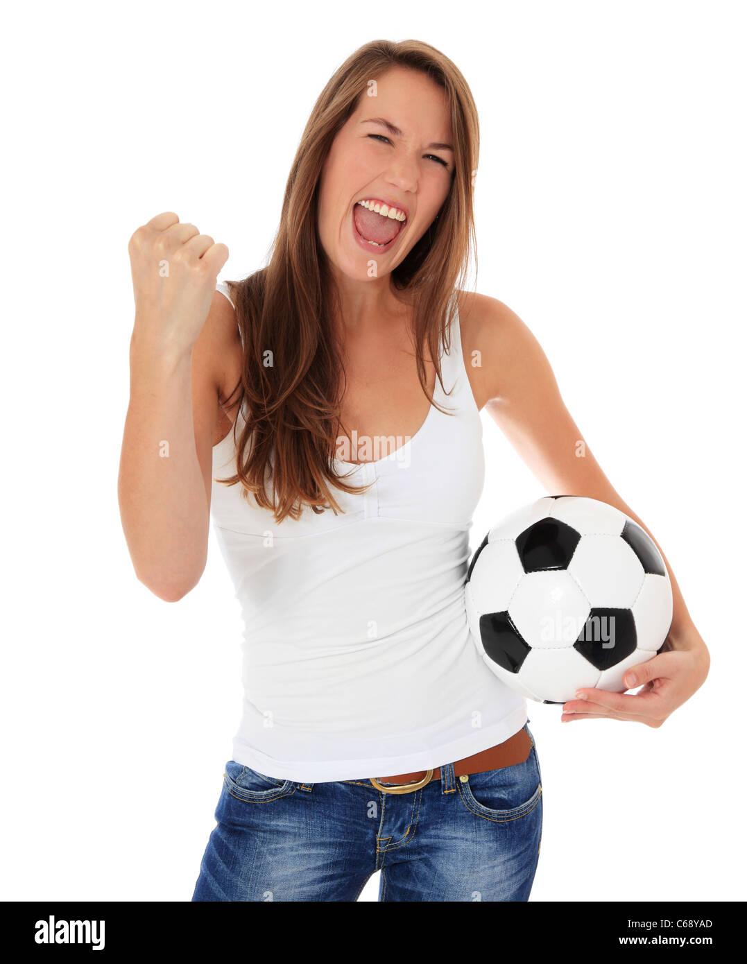 f68250f5f1eca Animando joven sosteniendo un balón de fútbol. Todo sobre fondo blanco.  Imagen De Stock
