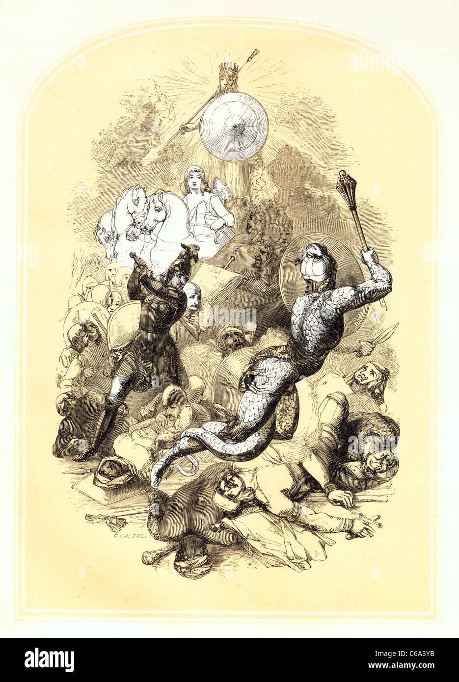 El derrocamiento de Diabolous de John Bunyan la Guerra Santa Imagen De Stock