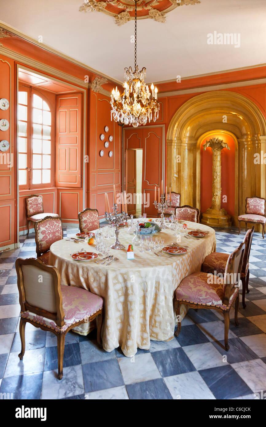 Comedor en Chateau Villandry, Indre Loira, Francia, Europa Imagen De Stock