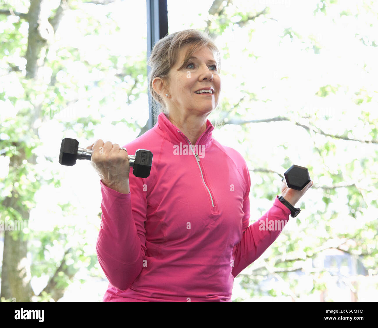 Mujer levantamiento de pesas en el club de salud Foto de stock