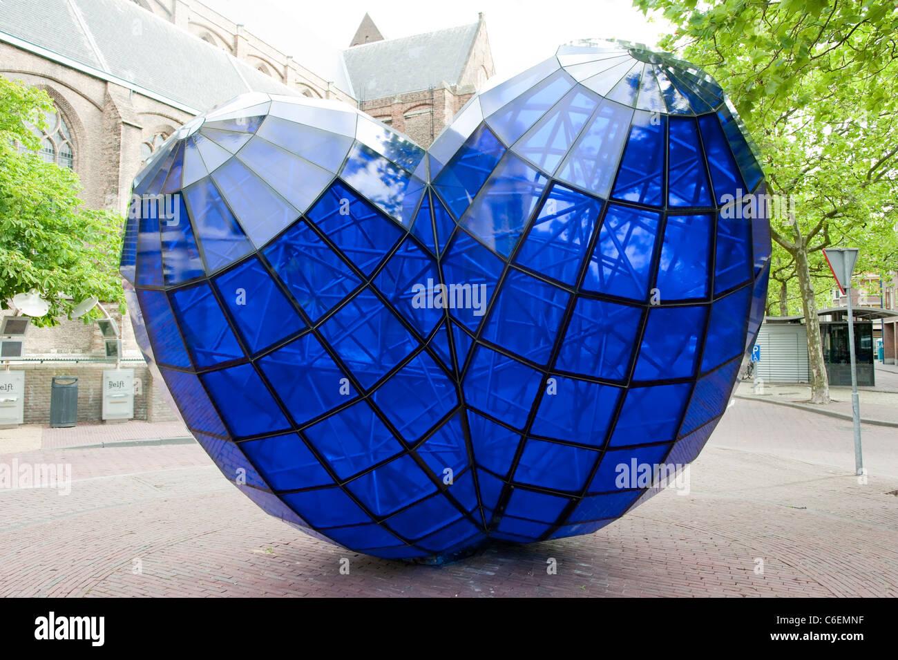 Gran amor del Corazón de Cristal Azul Delft Holanda Holanda Europa Imagen De Stock