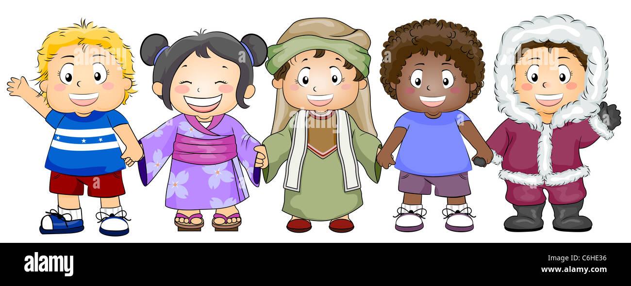 Imagenes De Niños De Distintas Razas: Ilustración Con Los Niños De Distintas Razas Y Etnias