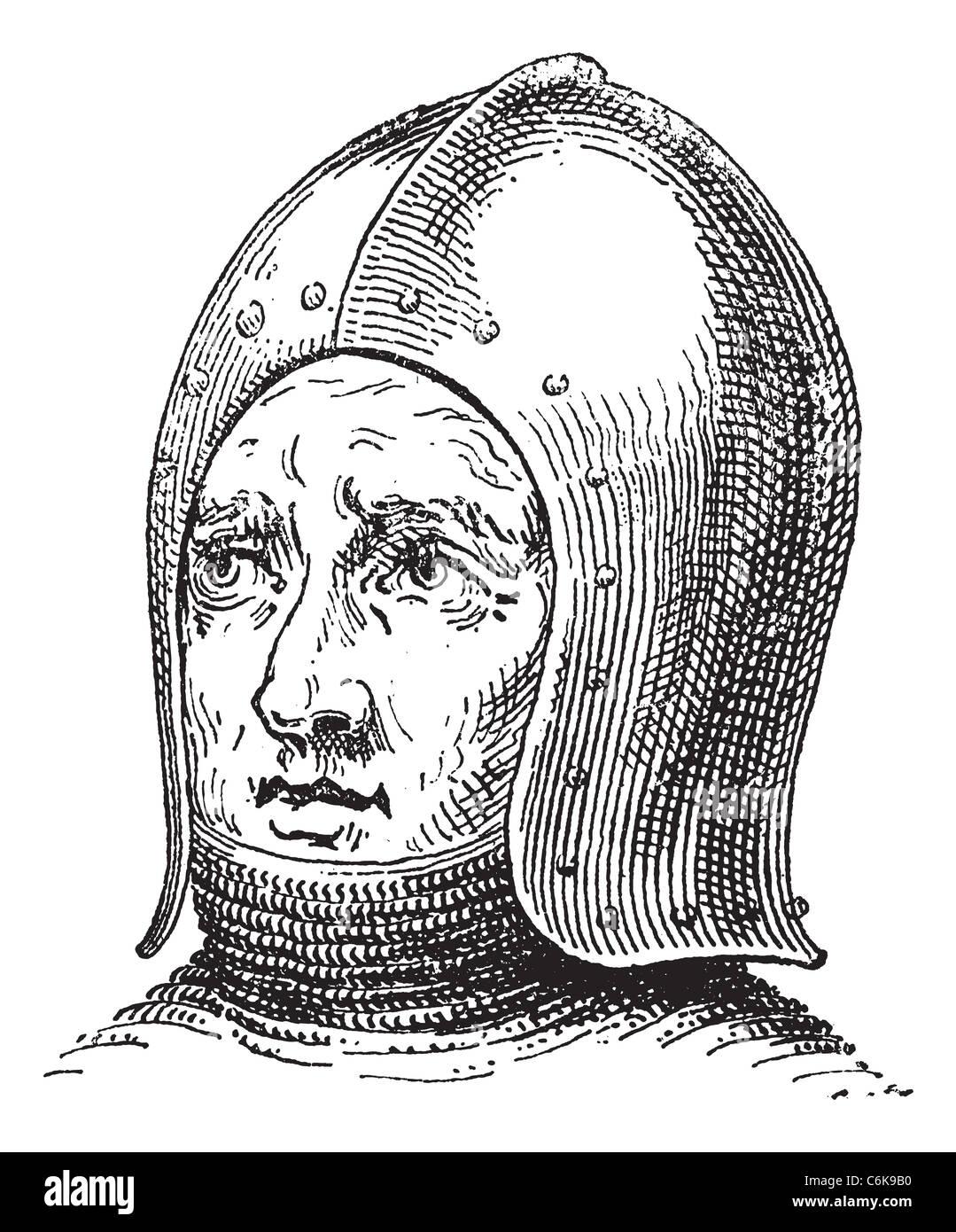 31f4fc5ec8b2f O Sallet Schaller o guerra casco o galea vintage grabado. Ilustración  grabada antiguo casco de