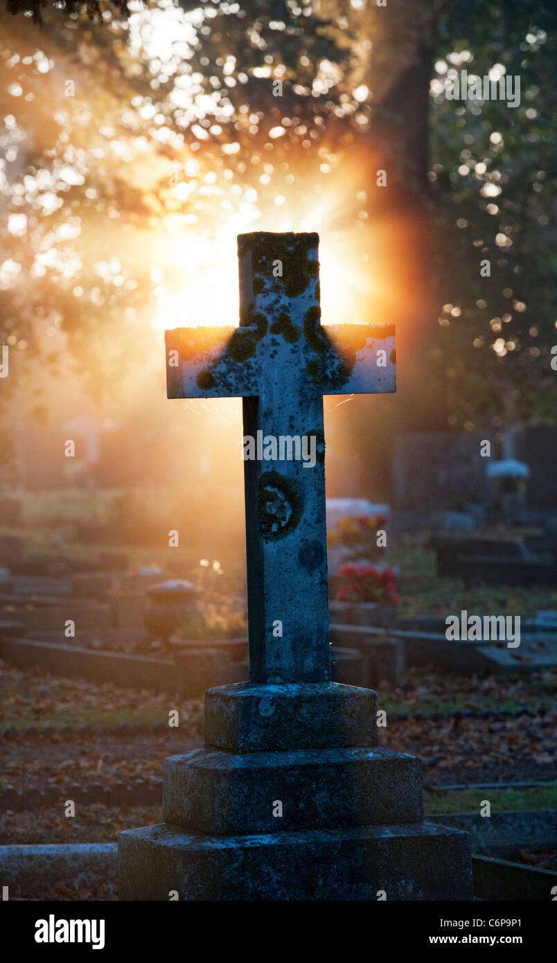 Cementerio lápidas cruz iluminada en la luz del sol por la mañana temprano a través de la bruma. Imagen De Stock
