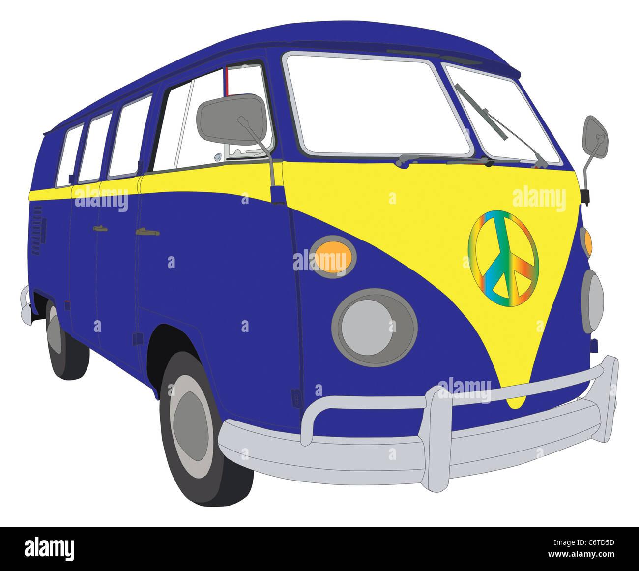 VW beetle coloridos van camper Foto de stock