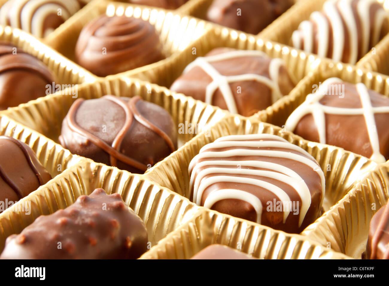 Caja de bombones de chocolate cerrar Imagen De Stock