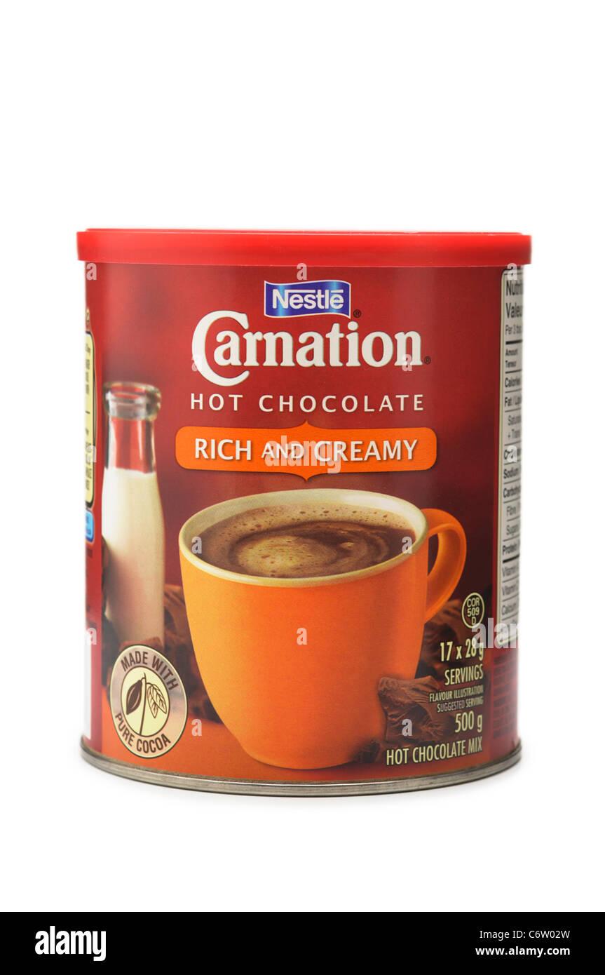Chocolate caliente, mezclar polvo de estaño Imagen De Stock