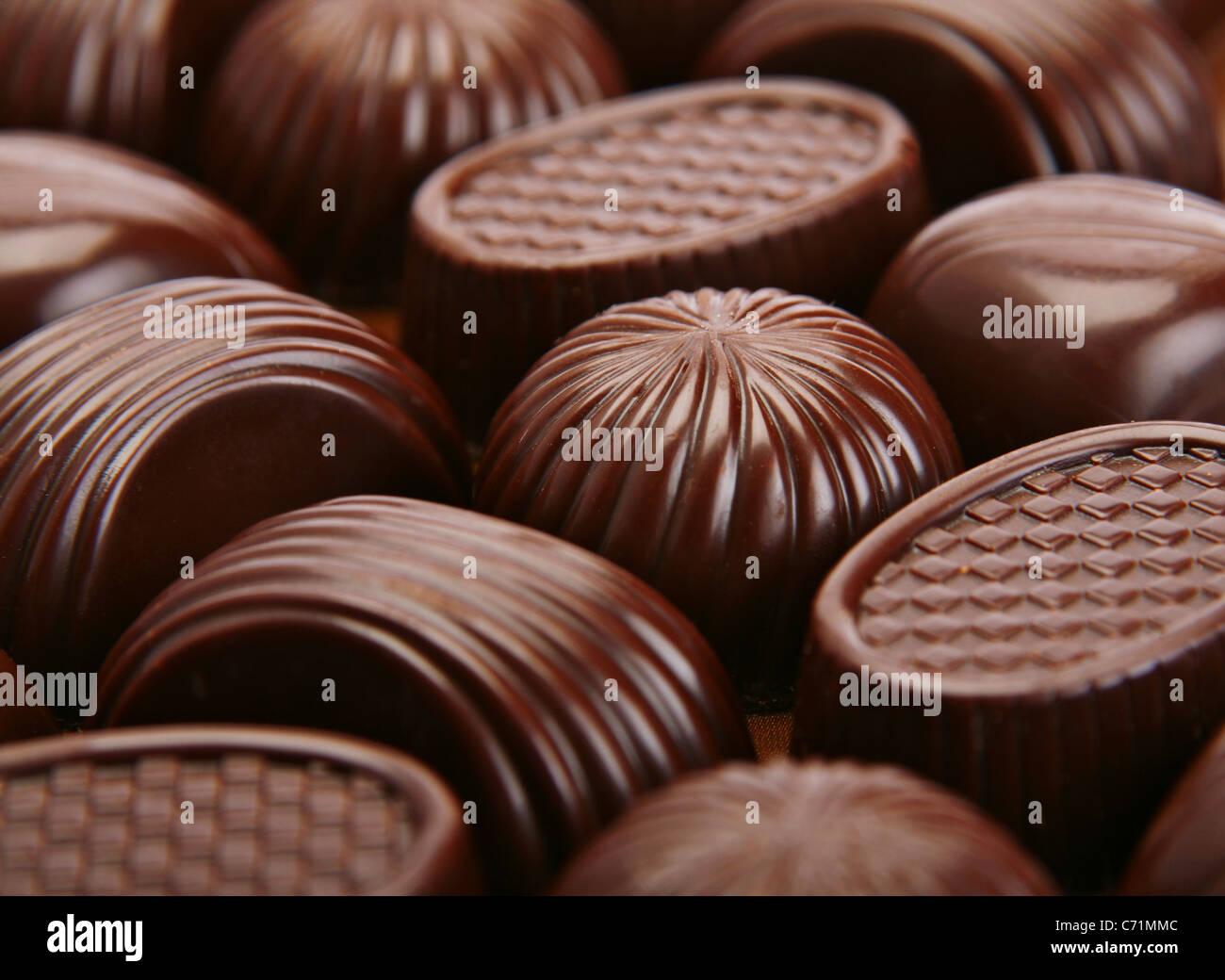 Closeup fondo golosinas de chocolate marrón Imagen De Stock